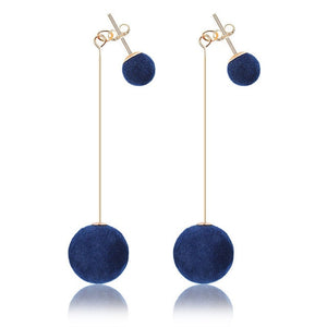 2019 New Simple Plush Ball Drop Earrings For Women
