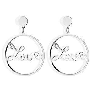17IF Big Circle Earrings LOVE For Women, Geometric Round