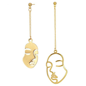 New Gold Color Face Earrings KISS WIFE Abstract Art Drop Earrings For Women Girls Statament Tassel Earrings Exquisite Gift