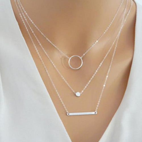 Surou Delicate Layered Necklaces Women Multi Layering Chain Bar Necklace Disc Pendant Charm Statement Necklace Body Colar Bijoux