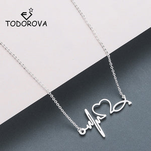 Todorova Stainless Steel Stethoscope Heartbeat Necklace Women Love Heart Necklaces & Pendants Medical Nurse Doctor Lover Gifts