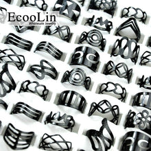 Load image into Gallery viewer, 10Pcs Women Vintage Black Ring, Mixed Random Style