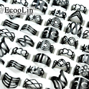 10Pcs Women Vintage Black Ring, Mixed Random Style