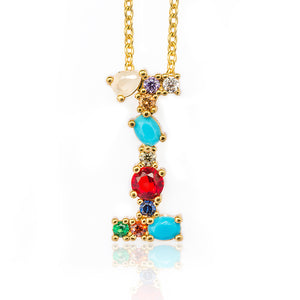 Gold Color Initial Multicolor CZ Necklace Personalized Letter