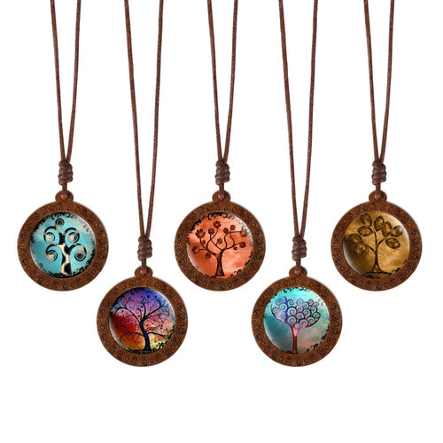 Family Tree of Life, Dome Glass Wood Necklaces
