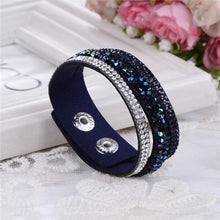 Load image into Gallery viewer, New Leather Punk Crystal Rhinestone Bracelet