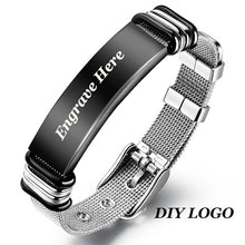 Load image into Gallery viewer, V.YA Fashion Customized Black Men Bracelet Stainless Steel  Personalized Silver Bracelet Engrave Bangle For Men Jewelry Gift