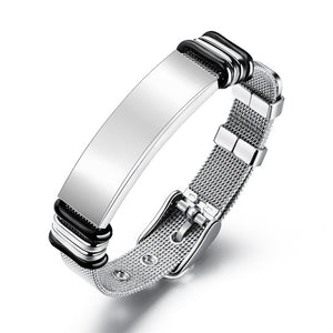 V.YA Fashion Customized Black Men Bracelet Stainless Steel  Personalized Silver Bracelet Engrave Bangle For Men Jewelry Gift