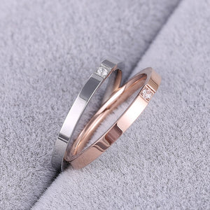 KNOCK Top Quality Concise Zircon Wedding stainless steel material Rose Gold Steel color Ring Never Fade  Jewelry
