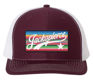 JP Mexican Blanket Patch Hat - Maroon/White