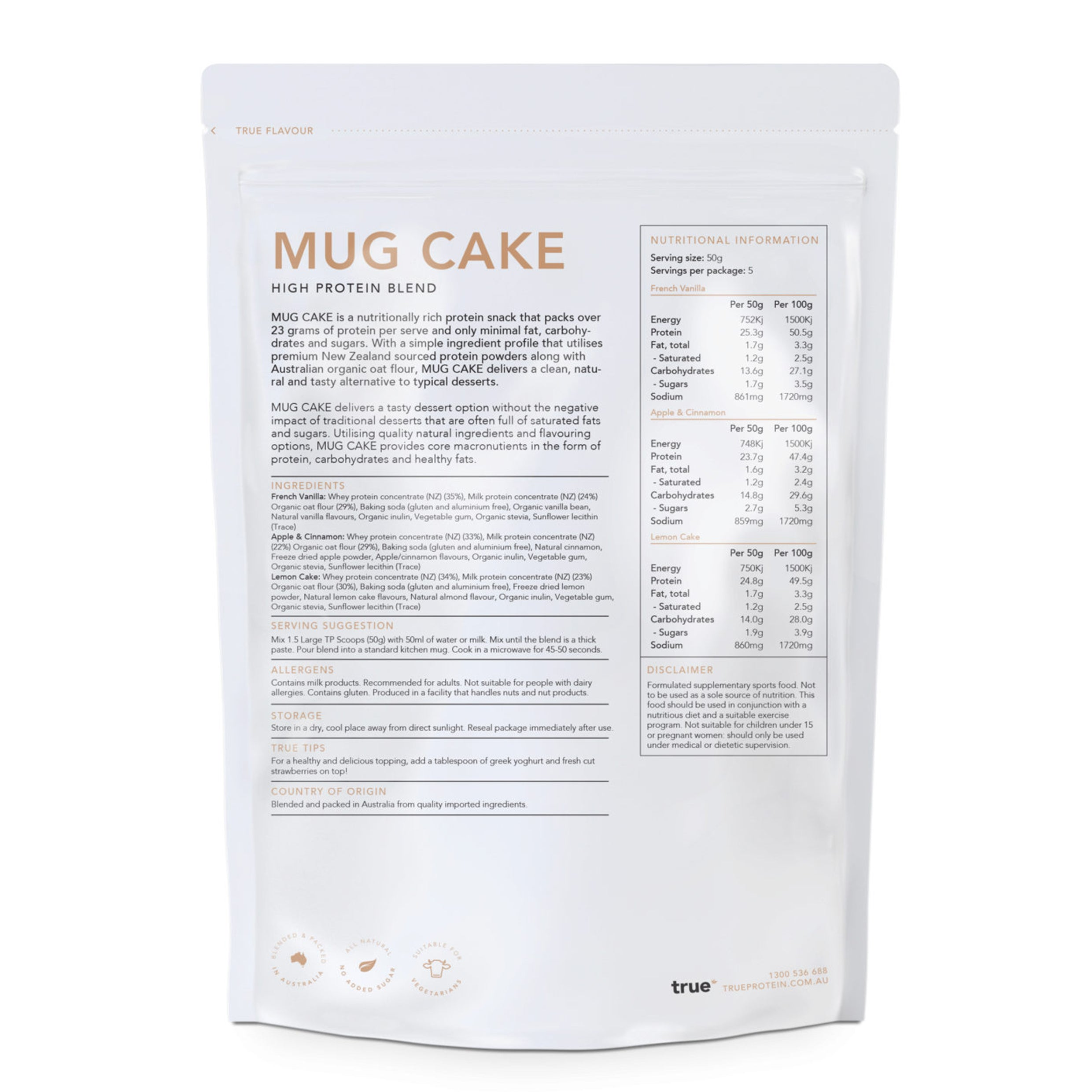 TRUE - MUGCAKE French Vanilla 250g
