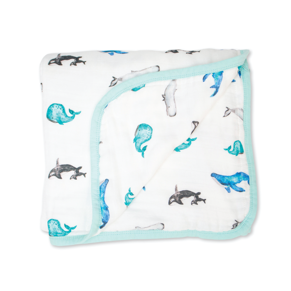 Couverture quatre couches Deluxe Lulujo - Baleines