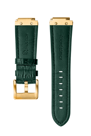 PR LEATHER WATCHBAND - GOLD GREEN