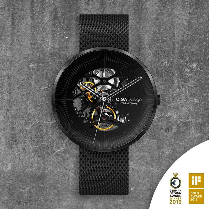 CIGA DESIGN M021-BLBL-W13 MICHAEL YOUNG SERIES AUTOMATIC MECHANICAL SKELETON WRISTWATCH