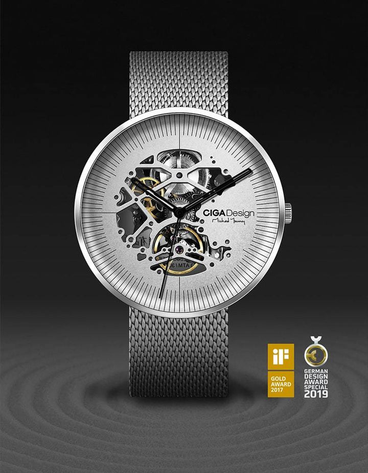 CIGA DESIGN M021-SIS-W13 MICHAEL YOUNG SERIES AUTOMATIC MECHANICAL SKELETON WRISTWATCH.