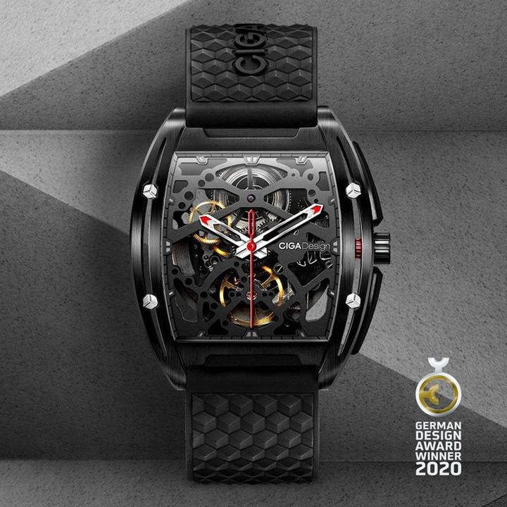 CIGA DESING Z031-BLBL-15BK Z SERIES DLC AUTOMATIC MECHANICAL SKELETON WRISTWATCH