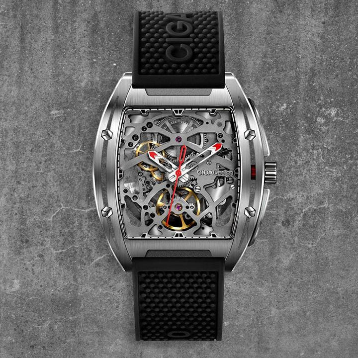 CIGA DESIGN Z031-SISI-W15BK Z-SERIES 316L STAINLESS STEEL AUTOMATIC MECHANICAL SKELETON WRISTWATCH