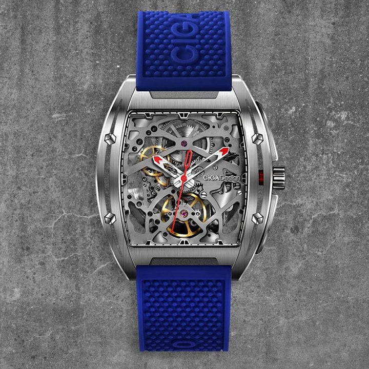 CIGA DESIGN Z031-SISI-W15BU Z-SERIES 316L STAINLESS STEEL AUTOMATIC MECHANICAL SKELETON WRISTWATCH
