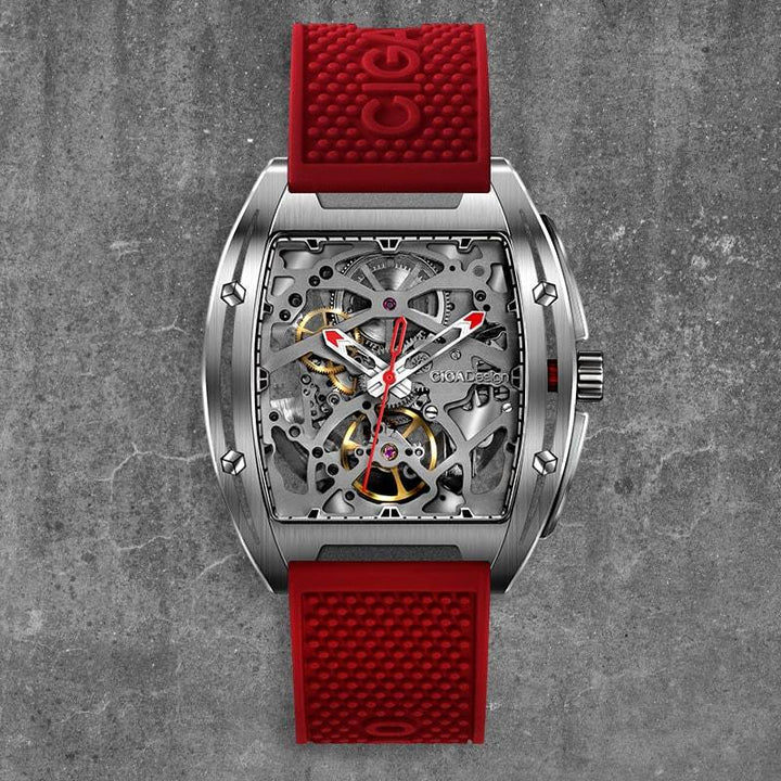 CIGA DESIGN Z031-SISI-W15RE Z-SERIES 316L STAINLESS STEEL AUTOMATIC MECHANICAL SKELETON WRISTWATCH