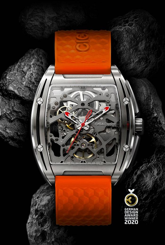 CIGA DESIGN Z031-TITI-W150G Z-SERIES TITANIUM AUTOMATIC MECHANICAL SKELETON WRISTWATCH
