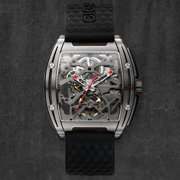 CIGA DESIGN Z031-TITI-W15BK Z-SERIES TITANIUM AUTOMATIC MECHANICAL SKELETON WRISTWATCH