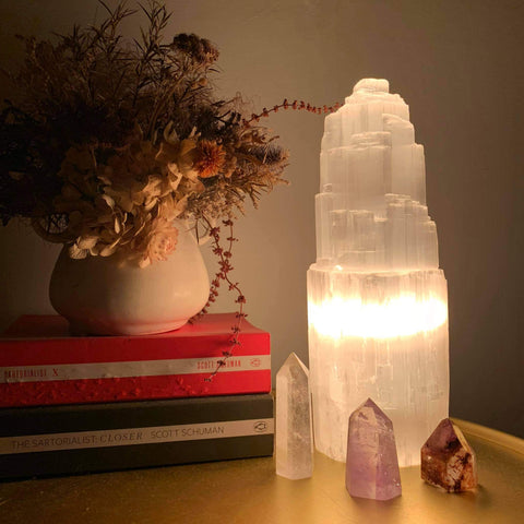 Selenite Tower Lamp - The Third Eye