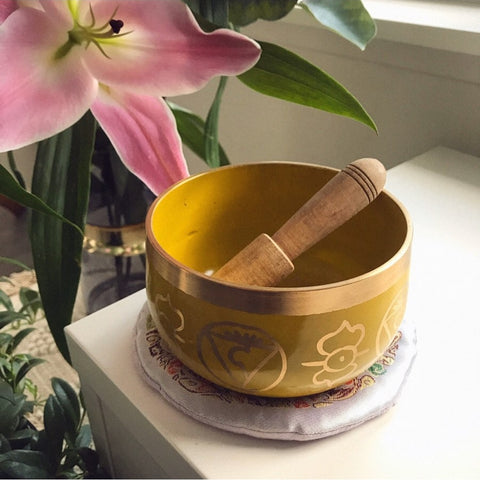 Yellow Chakra Brass Singing Bowl - The Third Eye