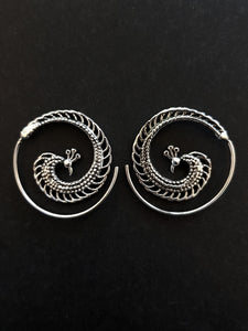 Silver Peacock Spiral Earrings