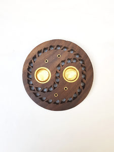 Wooden Round Carved Incense Holder