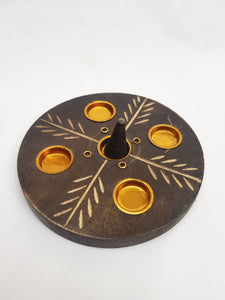 Large Round Wooden Incense Holder