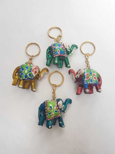 Coloured Elephant Keyring