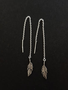 Silver Feather Thread Earrings