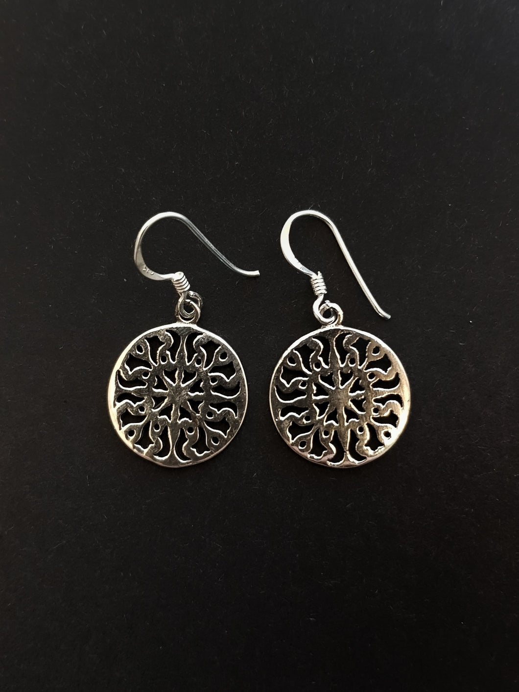 Mandala Silver Earrings