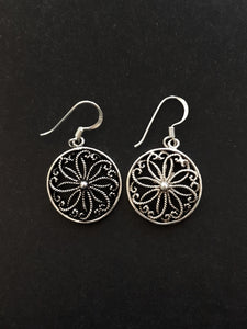 Filigree Silver Hook Earrings