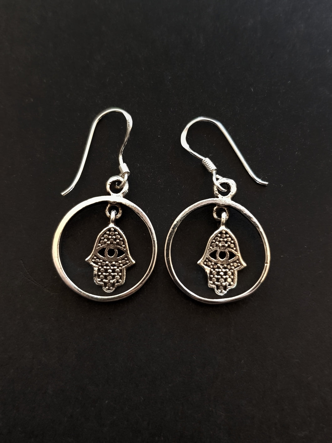 Hamsa in Circle Silver Earrings