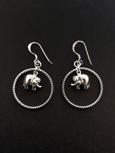 Elephant in Circle Silver Earrings