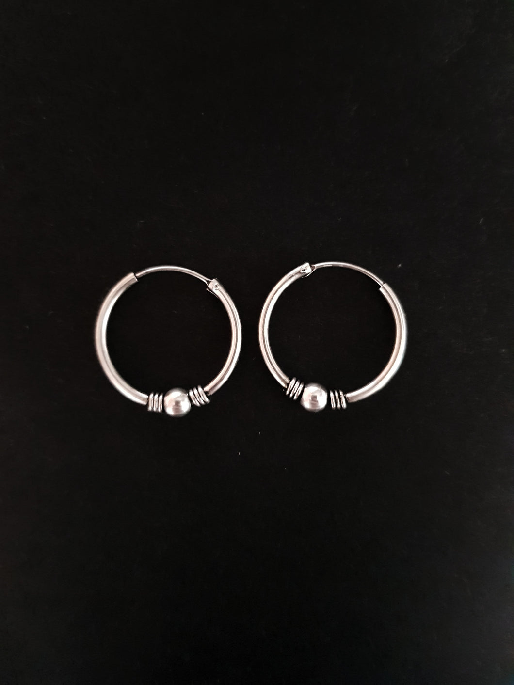 20mm Silver Beaded Hoops