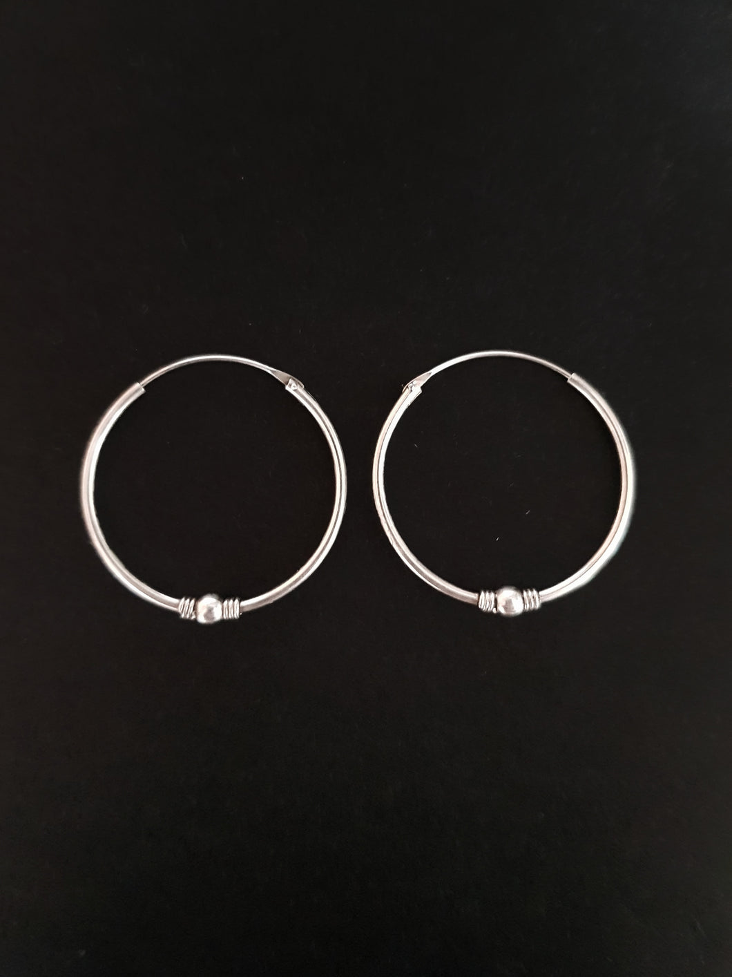25mm Silver Beaded Hoops