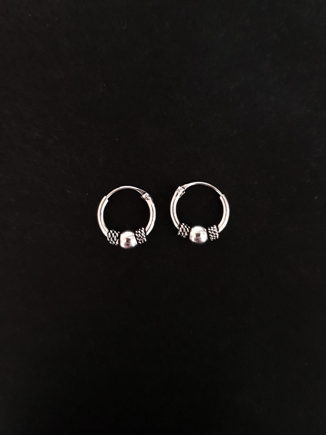 10mm Silver Beaded Hoops
