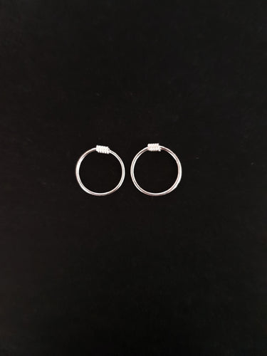 10mm Silver Hoops with Coil - Single