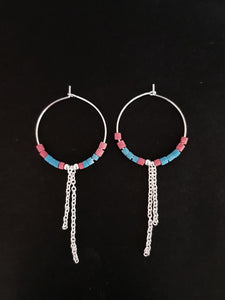 Silver and Bead Hoop Earrings