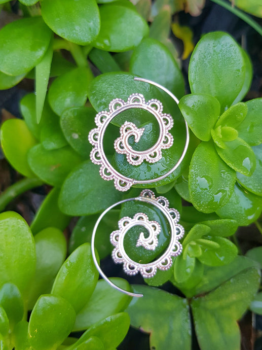 30mm Silver Filigree Spiral Earrings