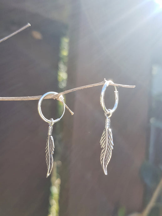Silver Feather on Hoop Earrings