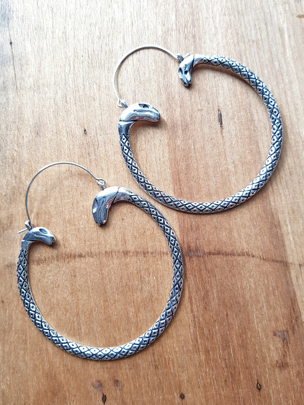 Serpent Statement Earrings - Silver Plated Brass