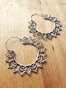 Aster Statement Earrings - Silver Plated Brass