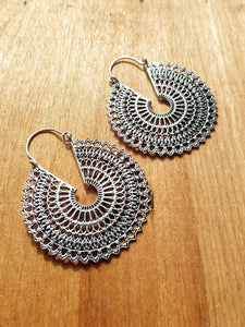 Samadhi Statement Earrings - Silver Plated Brass