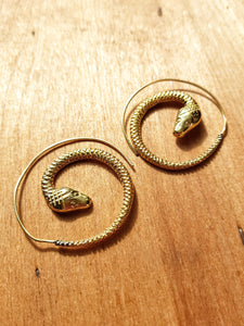 Serpent Spiral Earrings - Brass