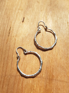Mini Bamboo Earrings - Silver Plated Brass