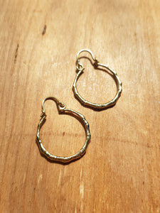 Mini Bamboo Earrings - Brass