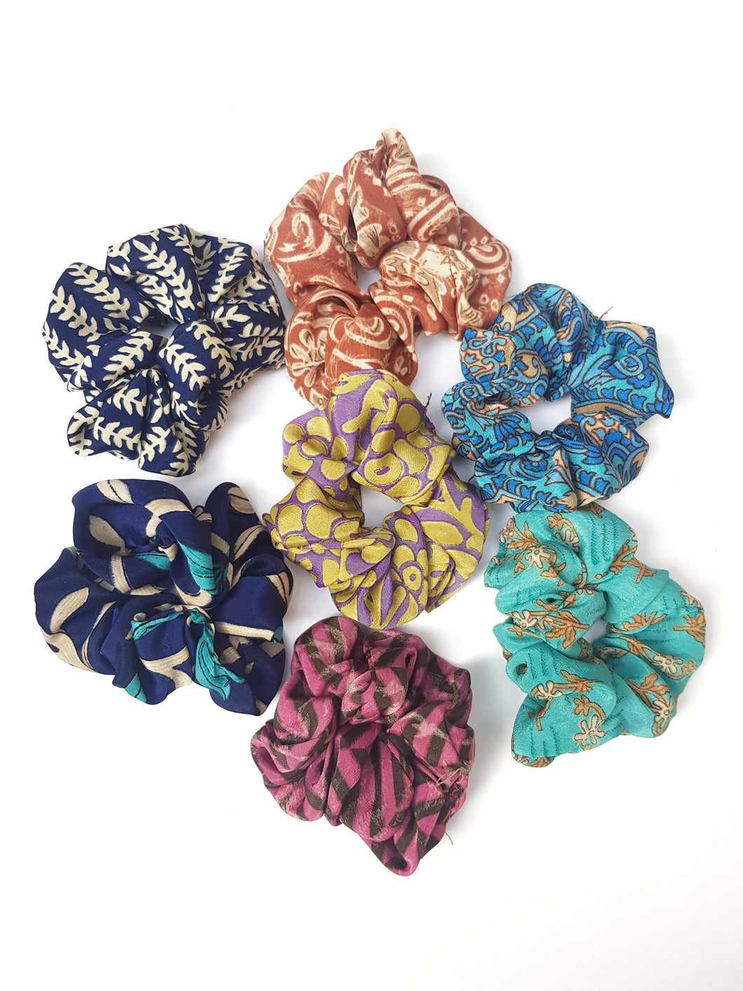 Small Silk Sari Scrunchies
